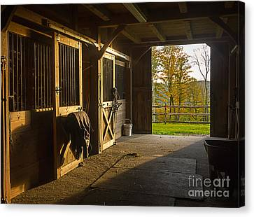 Horse Stable Canvas Print - Horse Barn Sunset by Edward Fielding