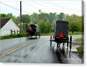 Horse Buggies On A Rainy Day Canvas Print by Karen Adams