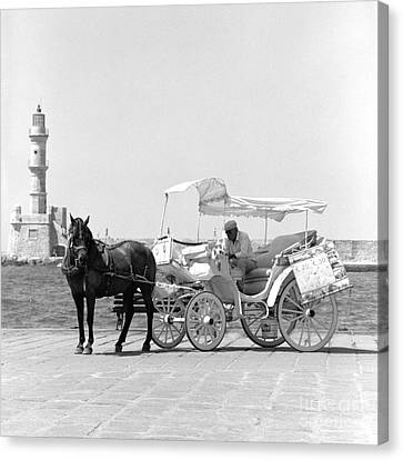 Horse Buggy And Lighthouse Canvas Print