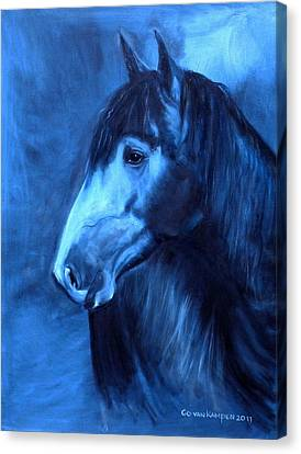 Horse - Carol In Indigo Canvas Print by Go Van Kampen