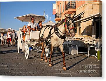 Horse Carriage At The Old Port Of Chania Canvas Print by George Atsametakis
