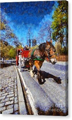 Carriage Canvas Print - Horse Carriage In Central Park by George Atsametakis
