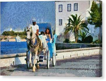 Carriages Canvas Print - Horse Carriage In Spetses Island by George Atsametakis