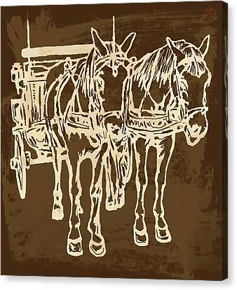 Horse Carriage - Stylised Pop Modern Etching Art Portrait - 1 Canvas Print by Kim Wang