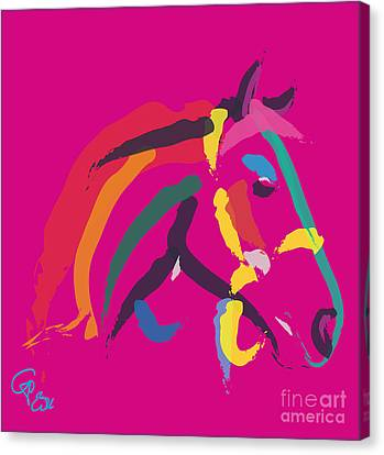 Horse - Colour Me Strong Canvas Print by Go Van Kampen