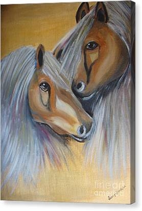 Canvas Print featuring the painting Horse Duo by Saranya Haridasan