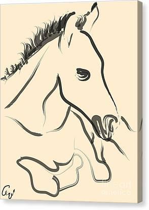 Horse-foal-pure Canvas Print by Go Van Kampen
