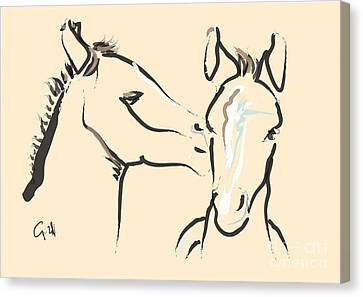 Canvas Print featuring the painting Horse-foals-together 6 by Go Van Kampen