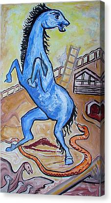 Canvas Print featuring the painting Horse  Frightend By A Snake by Anand Swaroop Manchiraju