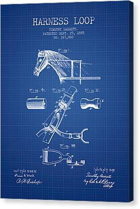 Horse Harness Loop Patent From 1885 - Blueprint Canvas Print by Aged Pixel