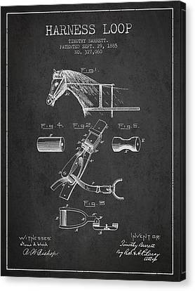 Horse Stable Canvas Print - Horse Harness Loop Patent From 1885 - Dark by Aged Pixel