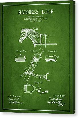 Horse Stable Canvas Print - Horse Harness Loop Patent From 1885 - Green by Aged Pixel