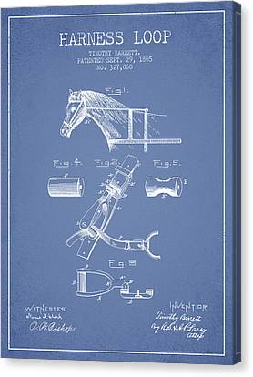 Horse Harness Loop Patent From 1885 - Light Blue Canvas Print by Aged Pixel