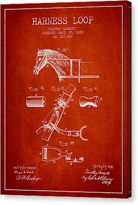 Horse Stable Canvas Print - Horse Harness Loop Patent From 1885 - Red by Aged Pixel