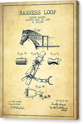 Horse Stable Canvas Print - Horse Harness Loop Patent From 1885 - Vintage by Aged Pixel