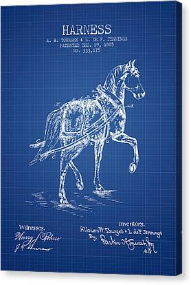 Horse Stable Canvas Print - Horse Harness Patent From 1885 - Blueprint by Aged Pixel