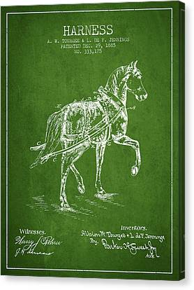 Horse Stable Canvas Print - Horse Harness Patent From 1885 - Green by Aged Pixel