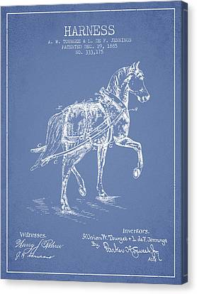 Horse Stable Canvas Print - Horse Harness Patent From 1885 - Light Blue by Aged Pixel