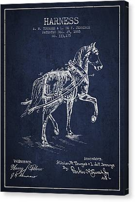 Horse Stable Canvas Print - Horse Harness Patent From 1885 - Navy Blue by Aged Pixel