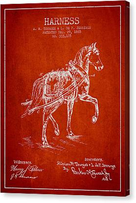 Horse Stable Canvas Print - Horse Harness Patent From 1885 - Red by Aged Pixel