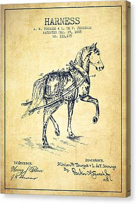 Horse Harness Patent From 1885 - Vintage Canvas Print by Aged Pixel