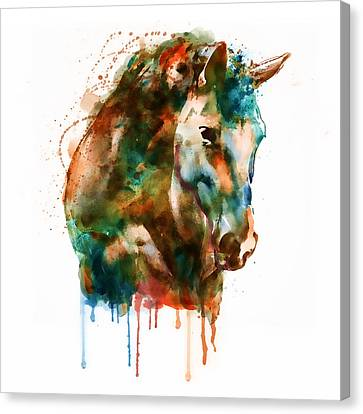 Horse Head Watercolor Canvas Print