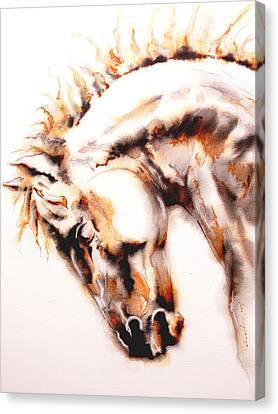 Horse I White Canvas Print by J- J- Espinoza