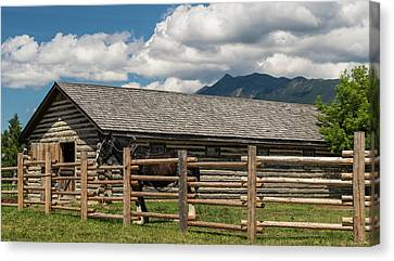 Horse In Barn, Rocky Mountains, Fort Canvas Print by Panoramic Images