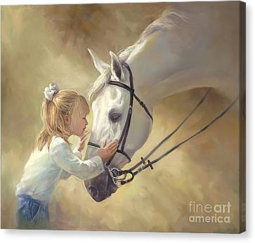 Horse Kisses Canvas Print by Laurie Hein
