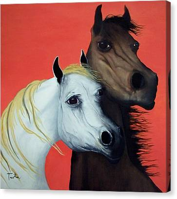 Horse Lovers In Red  Sold Canvas Print by Patrick Trotter