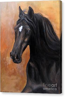 Canvas Print featuring the painting Horse - Lucky Star by Go Van Kampen