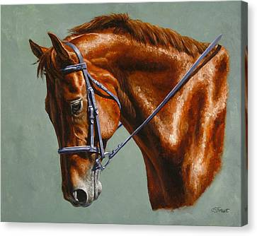 Horse Painting - Focus Canvas Print by Crista Forest
