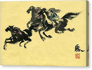 Canvas Print featuring the painting Horse  by Ping Yan