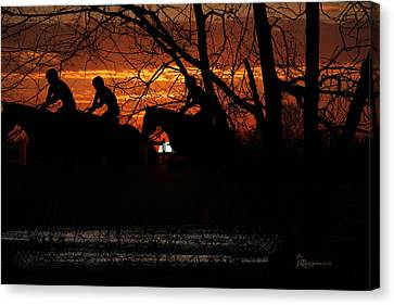 Horse Racing At Sun Downs - Featured In Comfortable Art And Nature Wildlife Groups Canvas Print by EricaMaxine  Price