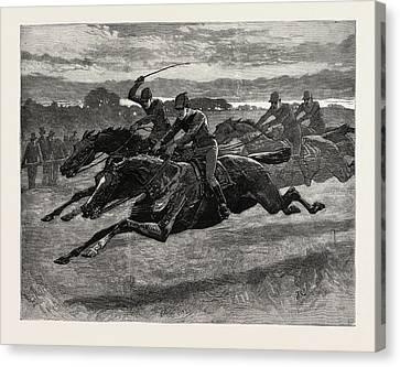 Horse Racing, Engraving 1884, Life In Britain, Uk, Britain Canvas Print by Charlton, John (1849-1917), English School