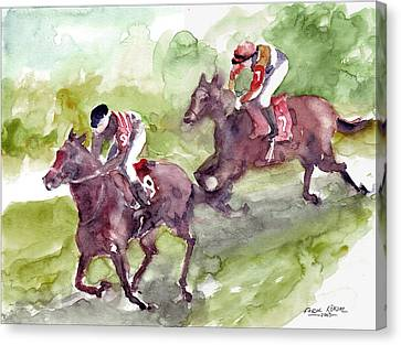Canvas Print featuring the painting Horse Racing by Faruk Koksal