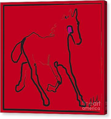 Canvas Print featuring the painting horse - Red filly by Go Van Kampen