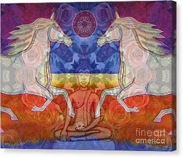 Canvas Print featuring the digital art Horse Spirits In The Garden Of The Buddha 2 by Joseph J Stevens