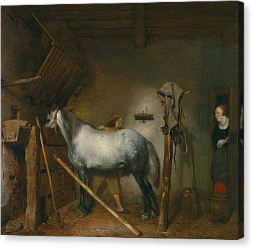 Horse Stable Canvas Print - Horse Stable by Gerard ter Borch