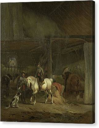 Horse Stable Canvas Print - Horse Stable, Joseph Moerenhout by Litz Collection