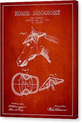 Horse Sunbonnet Patent From 1870 - Red Canvas Print by Aged Pixel