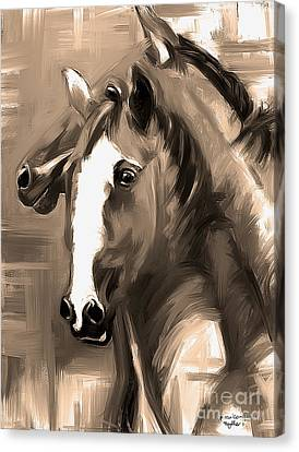 Canvas Print featuring the painting Horse Together 1 Sepia by Go Van Kampen