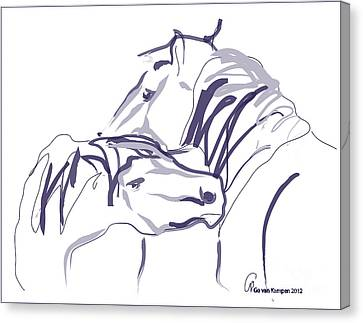 Horse - Together 10 Canvas Print by Go Van Kampen