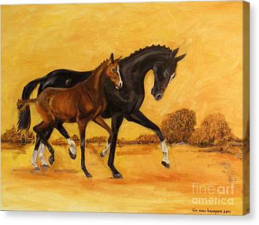 Canvas Print featuring the painting Horse - Together 2 by Go Van Kampen