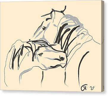 Canvas Print featuring the painting Horse - Together 4 by Go Van Kampen