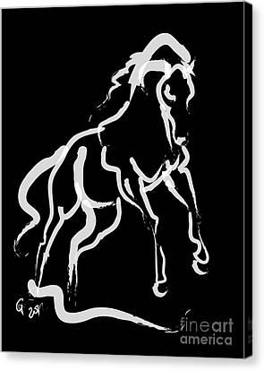 Horse White Runner Canvas Print by Go Van Kampen