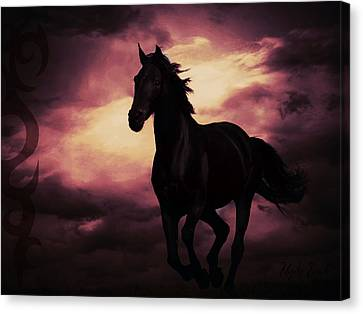 Canvas Print featuring the photograph Horse With Tribal Tattoo Purple by Mindy Bench