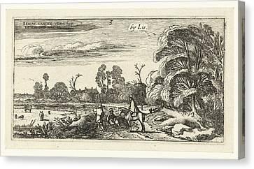 Horseman And Walkers On A Road Near Lisse Canvas Print by Esaias Van De Velde