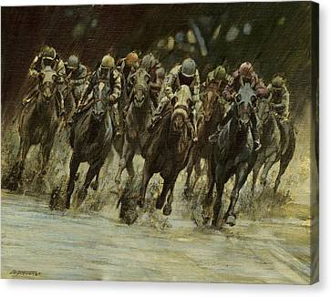 Horseracing In Rain Canvas Print