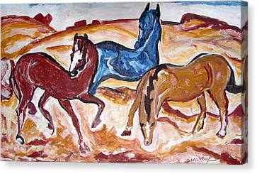 Canvas Print featuring the painting Horses 3 by Anand Swaroop Manchiraju
